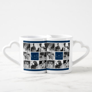 Create Your Own Wedding Photo Collage Monogram Couple Mugs
