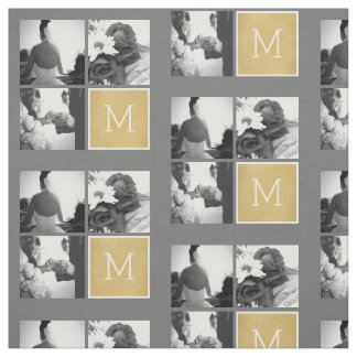 Create Your Own Wedding Photo Collage Monogram Fabric