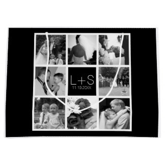 Create Your Own Wedding Photo Collage Monogram Large Gift Bag