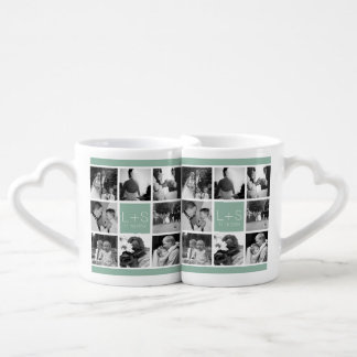 Create Your Own Wedding Photo Collage Monogram Couple Mugs