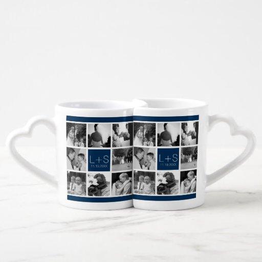 Create Your Own Wedding Photo Collage Monogram Lovers Mug Sets