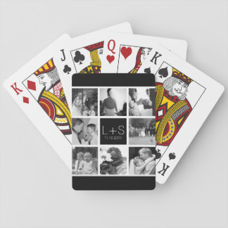 Create Your Own Wedding Photo Collage Monogram Poker Deck