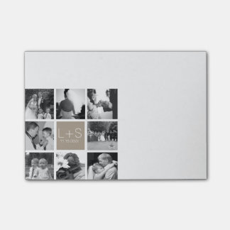 Create Your Own Wedding Photo Collage Monogram Post-it Notes