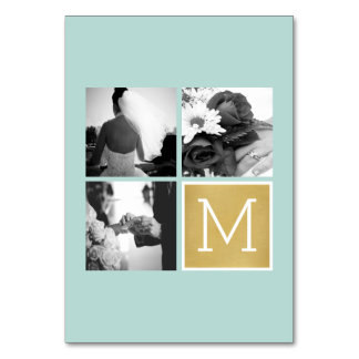 Create Your Own Wedding Photo Collage Monogram Table Card