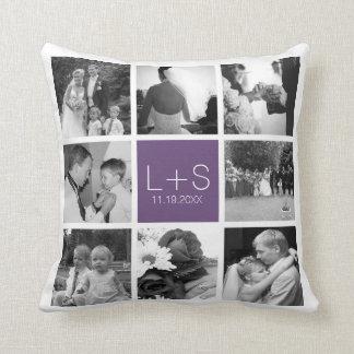 Create Your Own Wedding Photo Collage Monogram Throw Pillow