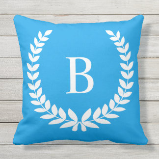 Create Your Own White Laurel Wreath Monogram Outdoor Pillow