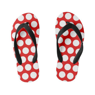 Create Your Own White Polka Dot Kid's Flip Flops