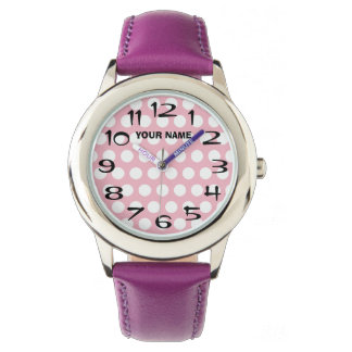 Create Your Own White Polka Dot Personalized Wrist Watches