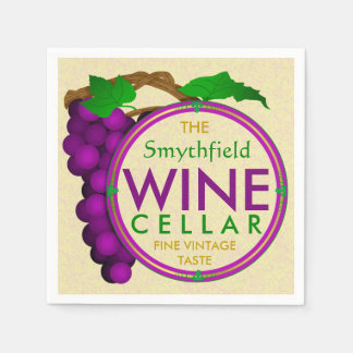 Create Your Own Wine Cellar Grapes Personalized Paper Napkins