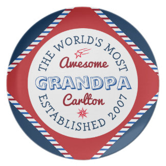 Create Your Own World's Most Awesome Grandpa Logo Dinner Plates