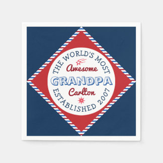 Create Your Own World's Most Awesome Grandpa Logo Disposable Napkin