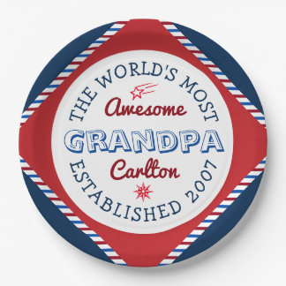 Create Your Own World's Most Awesome Grandpa Logo Paper Plate