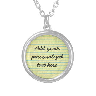 Create Your Own Yellow Lined Paper Silver Plated Necklace