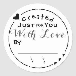 Created with Love Artwork Signature/Date Classic Round Sticker
