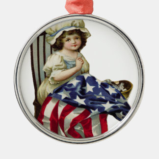 Creating the Flag Silver-Colored Round Ornament