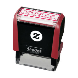 creating your own words / text red sign self-inking stamp
