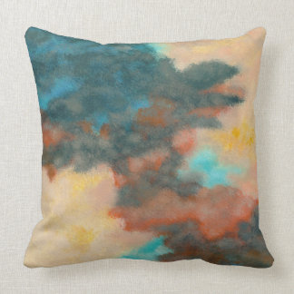 Creation, Abstract Art Painting Pastels Peach Teal Throw Pillow