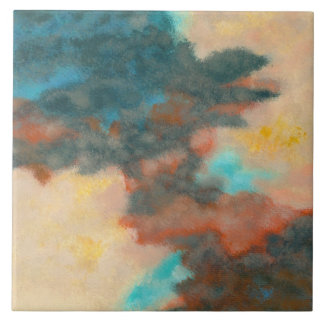 Creation, Abstract Art Painting Pastels Peach Teal Tiles
