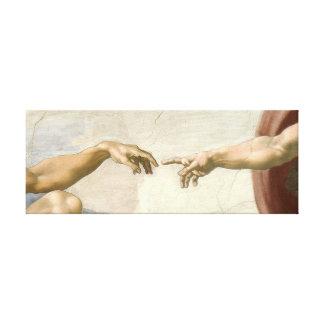 Creation of Adam Hands - Michelangelo. Canvas Print