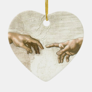 Creation of Adam Hands - Michelangelo Ceramic Heart Ornament