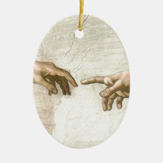 Creation of Adam Hands - Michelangelo Ceramic Oval Ornament