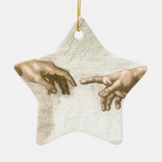 Creation of Adam Hands - Michelangelo Ceramic Star Ornament