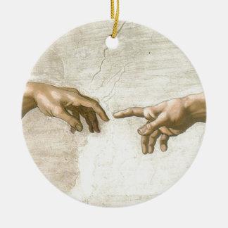 Creation of Adam Hands - Michelangelo Round Ceramic Ornament