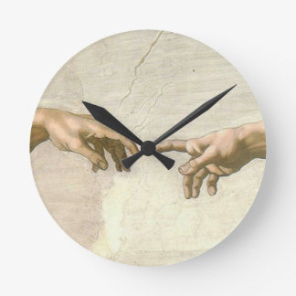 Creation of Adam Hands - Michelangelo Round Clock