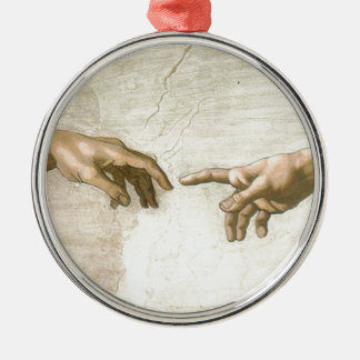 Creation of Adam Hands - Michelangelo Silver-Colored Round Ornament