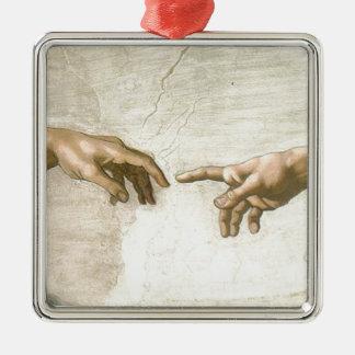 Creation of Adam Hands - Michelangelo Silver-Colored Square Ornament