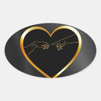 Creation of Adam inside a golden heart Oval Sticker