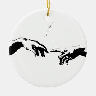 Creation of Adam Round Ceramic Ornament