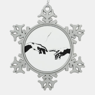 Creation of Adam Snowflake Pewter Christmas Ornament
