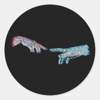 Creation of Cyber-Adam Round Sticker