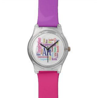 Creative Colors Artist's Inspiration Word Cloud Wristwatches