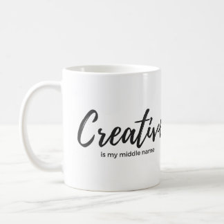 Creative is my middle name white mug