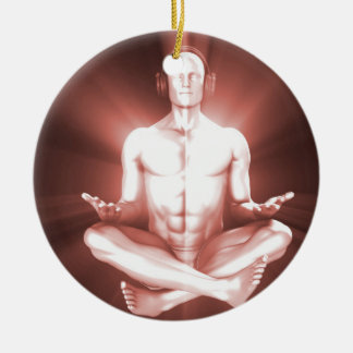 Creative Music and Dream State Technology as Art Round Ceramic Ornament