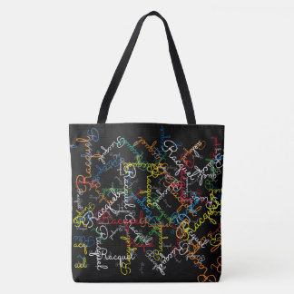creative pattern of colorful names tote bag