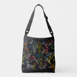 creative pattern of colorful names (your own) crossbody bag