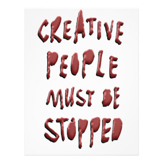 CREATIVE PEOPLE MUST BE STOPPED LETTERHEAD