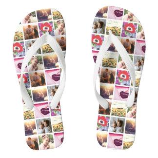 Creative  Personalized image mosaic Flip Flops