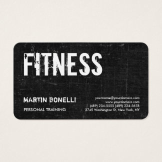 Creative Retro Black Grey Dynamic Personal Trainer Business Card