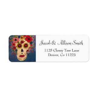 Creative Sugar Skull Flowers Return Address Labels