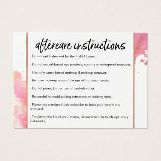 Creative Watercolor Eyelashes Aftercare Business Card