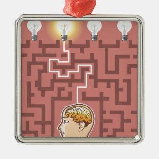 Creativity Brainstorming Passage through Maze Silver-Colored Square Ornament