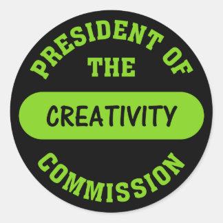 Creativity Commission President Round Sticker