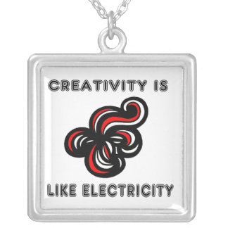 """""""Creativity is Like Electricity"""" Sterling Silver Silver Plated Necklace"""