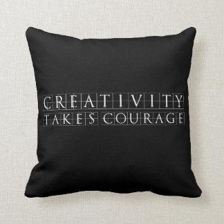 Creativity takes Courage Black Throw Pillow