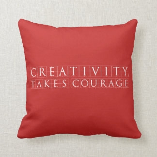 Creativity takes Courage Red Throw Pillow