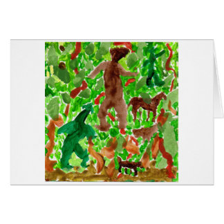 Creatures in the deep forest note card